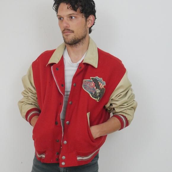 Avirex Other - Vintage Red Avirex Leather + Wool Varsity Jacket